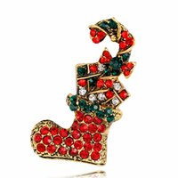 Wholesale Diamond Crystal Boots - Christmas gift jewelry fashion personalized cartoon Christmas boots Brooch diamond brooch alloy