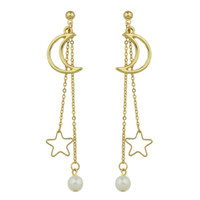 Wholesale Gold Plated Star Earring - Gold-Color Silver Color Long Chain Hanging Earrings Moon Star Shape Simulated-pearl Drop Earrings for Women Jewelry