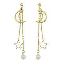 Gold-Color Silver Color Long Chain Pendentes pendurados Moon Star Shape Simulated-pearl Drop Earrings for Women Jewelry
