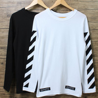 Wholesale Mens Striped Long Sleeve Shirts - Fashion Mens T shirt OFF WHITE Outdoor Casual Long Sleeve Oversize Tee shirt O neck Cotton Palace Tees