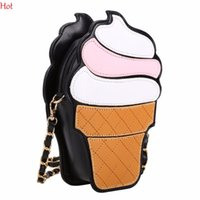 Wholesale Cupcake Cases Blue - Wholesale- Womem Ice Cream Bags Pu Leather Messenger Bags Small Cupcake Mini Coin Case Handbags Chain Bag Crossbody Cute Girls Bag SV029978