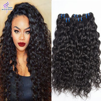 Natural Color 1B# black hair pieces - Brazilian Human Hair Bundles Wet and Wavy Bundles Brazilian Water Wave Virgin Hair Brazilian Curly Weave Human Hair Weaves Natural Black