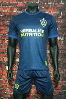 Wholesale Galaxy Suit - Benwon - 17 18 LA Galaxy away deep blue soccer uniform thai quality short sleeve football jerseys men's athletic outdoor sports kits suits