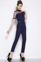 Wholesale Womens Piece Pant Suits - 2017 New Summer Style Chiffon Rompers Womens Jumpsuit Overalls For Women Sexy Elegant One Piece Set Women Tops And Pant Suits