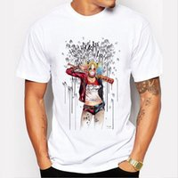 Wholesale Casual Men Wholesale Clothing - Wholesale- Men's Suicide Squad T Shirt Harley Quinn Joker T-Shirt Summer Style Funny HAHA Pretty Woman Print Tee Men Short Sleeve Clothing