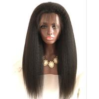 ingrosso parrucche del merletto dei capelli umani grossi-Parrucche piene del pizzo dei capelli umani di 130% densità Parrucche piene del pizzo di Yaki di massima Parrucche piene del merletto peruviano diritte crespi