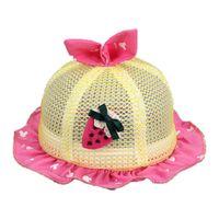 Wholesale Children Strawberry Cap - Wholesale 5 pcs Baby Girls Mesh Sun Hats Kid Child Strawberry Design Flounce Rabbit Ear Caps Summer Sun Protective Hat MZ4816