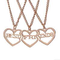 Wholesale heart bff necklaces - 3pcs set Best Friends Pendant Necklaces Silver Gold Heart Friendship BFF Necklace for Women Girls Fashion Jewelry Drop Shipping
