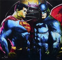 Wholesale batman v superman for sale - Group buy Framed Patrice Murciano SUPERMAN v BATMAN Pure Hand Painted modern Portrait Wall Art Oil Painting On Canvas Multi sizeS PM034
