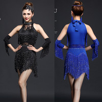 Wholesale Latin Fringe Ballroom Dress - Red Black Women Competition Dance Clothes Sequins Costume Set with Sleeves Fringe Salsa Dresses Ballroom Dance Ladies Latin Dress