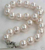 ENVIO GRATIS nova jóia nobre de jóias finas BEAUTIFUL 12MM WHITE SEA SHELL PEARL NECKLACE 18