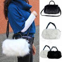 Wholesale Wholesale Purse Stylish - Wholesale- Winter Women Rabbi Hair Cute Furry Faux Fur Tote Shoulder Bag PURSE Stylish fluffy Cross Body Messenger Bag
