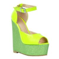 escarpins peep toe verts achat en gros de-Kolnoo Womens Mode À La Main 15 cm Wadge Talon Patchwork En Cuir Peep Toe Pompes Parti Chaussures Vert XD113