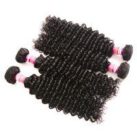 Wholesale Chinese Hair Bundle Deals - 10A Deep Wave Mongolian Hair Weave Natural Color 3 or 4 Bundles Deals 100% Mongolian Human Hair Deep Curly Weaving Remy Hair Extensions