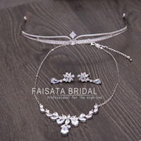 Wholesale Crown Key Pearl Necklace - New Shinny Luxury Bridal Jewelry Sets Crystal Wedding Crown Earrings Necklace Tiaras Accessories Fashion Headbands Bridal Accessories 3PCS
