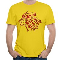 Wholesale Tattoo Designs Shirts - Casual sport shirts lion tattoo t shirt and male funny t shirts 100% cotton fashion creative design men t-shirts 5XL black red
