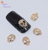 Vente en gros- 10pcs manucure or Skull 3D Nail Art décoration, alliage ongles Charms, ongles paillettes strass ongles fournitures SS065