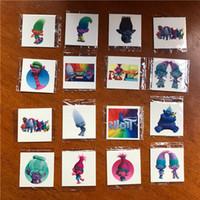 Wholesale Custom Face Tattoo Stickers - Children Custom Design 2017 Trolls Poppy Branch Spiderman Star Wars Cartoon Waterproof Tattoos Stickers for Kids Cosplay 5x5cm