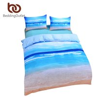 Wholesale Cheap King Duvet - Wholesale-Brand New Beach And Ocean Bedding Hot 3D Print Duvet Cover Cheap Vivid Comforter Set Twin Queen King Wholesale