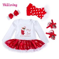 Wholesale Infant Set Skirt - Christmas Baby Clothes Snowflake Cotton Soft Long Sleeve Newborn Rompers Dress Baby Girls Clothing Set 4pcs New Year Bodysuit Infant Skirt