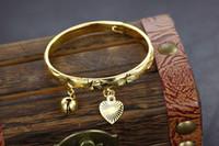 braceletes de bebê de ouro 18k venda por atacado-Bom Frete Grátis Adorável jóias 18 k banhado a ouro pulseira sino do coração do bebê crianças pulseira 5.4 ''