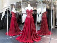 Wholesale wine red elegant evening gown - Wine Red Crystal Mermaid Plus Size Prom Dresses 2017 Elegant Sweetheart Lace Chiffon Long Backless Burgundy Evening Gowns Sweep Train