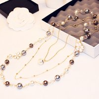 Wholesale Double Chain Pearls Necklace - 2017 new Korean fashion jewelry exquisite size pearl temperament double sweater chain 18k really gold gold color long necklace