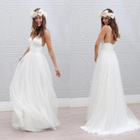 Wholesale Wedding Dressed Plus Size - Beach Summer Boho Wedding Dresses 2017 Backless Spaghetti Straps Cheap Floor Length Wedding Bridal Gowns Bohemian Formal Dresses For Wedding