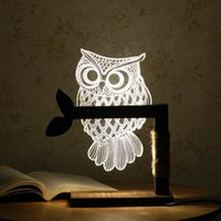 Wholesale Heart Shaped Plugs - Home 3D Owl Shape LED Desk Table Light Lamp Night Light US Plug Indoor and Lighting