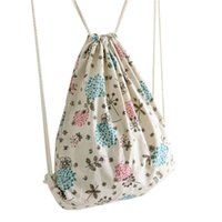 Vente en gros- Naivety 2016 Nouvelle femme Flower Prints Drawstring Tote Bag Beautiful Backpack Bag S6095 drop shipping