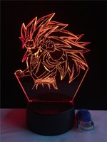 Wholesale Son Led - Dragon Ball Son Goku 3D Lamp Creative LED 7 Color Remote Control Night Light Cartoon Home Decor Children'sRoom Table Lamp