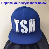 3ce586bdc5c Custom Hiphop 3D acrylic letters Bolted spikes rivets Acrylic snapback  fashion hats wholesale Adjustable Black Baseball Cap