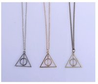 Wholesale Harry Potter Necklace For Men - Hot Sale Movie Potter Deathly Hallows Necklace Fashion Rotated Triangle Pendant Chain Harry Necklace For Women&Men Jewelry