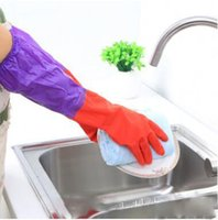 Wholesale Latex Glove Winter Waterproof Kitchen Clean Long Sleeves Home With Velvet Gloves Wool Rubber Cleaning Bowl and Dishes High quality Gloves