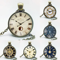 Wholesale Watch Mix Order - Best gift Retro Alloy Watch Clock Gemstone Necklace Fashion Pendant Patterns can be customized WFN515 (with chain) mix order 20 pieces a lot