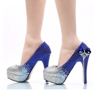 Wholesale Sapphire Party Dress - New sapphire blue gradient bowknot tassel shoes nightclub manual processing customized female high-heeled shoes