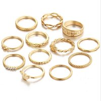 Wholesale 14k Solid Ring - 12 pcs set women Joint rings Fashion Retro diamond combination solid gold rings Carve patterns Knot engaement ring fashion jewelry