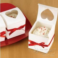 Wholesale Clear Single Cupcake Boxes Wholesale - Wholesale- Clear Heart PVC Window Paper Single Cupcake Cake Box Wedding Favor Gift Box With Red Sitan Ribbon (Set Of 12)