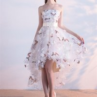 Wholesale Matching Prom Dresses - High Low Floral Embroidery Prom Dresses 2017 A-Line Matched Bow Sash 3D Flower Butterfly Strapless Evening Dresses Formal Pageant Gowns P203