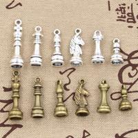Wholesale Chess Necklace - Wholesale-3sets Charms chess handmade Craft pendant making fit,Vintage Tibetan bronze silver,DIY for bracelet necklace