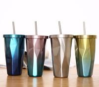 copos coloridos led venda por atacado-Caneca De Café De Aço Inoxidável Dupla Plataforma Copo De Palha Com Tampa Ao Ar Livre Viagem Beber Ferramenta Multi Cor 21 5cb C R
