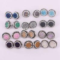 Wholesale 16mm Gem Stones - 10Pairs Nature titanium quartz stone stud earrings, 16mm, round pave rhinestone crystal bezel gems earrings ZYZ160-8829