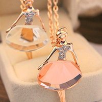Collane Statement Fashion Sweet Charming Full Of Crystal Collane Female Ballet Girl Pendants Collana lunga catena maglione