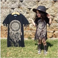 Wholesale Baby Personalities - Girls Dress new spring summer style children's clothing personality style casual baby black wild fringed dress 1-5Y hight quality free