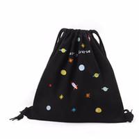 Wholesale Cell Beam - Wholesale- New Fashion Women Canvas Backpack Shopping Bag Drawstring Beam Port Shopping Bag Travel Bag School Bags For Teenage Girls Boys