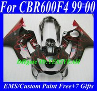 Kit de carenagem para HONDA CBR600F4 99 00 CBR 600 F4 CBR600 F4 CBR600 1999 2000 Chamas vermelhas lustrosas Black Motocycle Fairings set + 7gifts Hm40