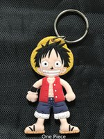 Wholesale One Piece Key Ring - New Japan ONE PIECE Monkey D. Luffy Figure Soft Rubber Double side Keychain Keyring Fashion Woman Car Key Ring Man Gift