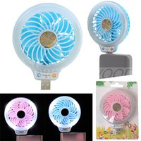 Wholesale Small Portable Fans Wholesale - New Style Mini portable Small USB Led Fan Without battery USB small fans luminous night light beauty fill light fan multi-purpose type