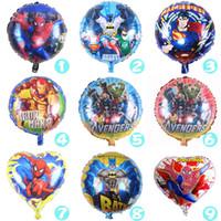 Wholesale Inflatable Superman - 50pcs lot 18inch super heros justice league balloon spiderman batman PJ MASKS balloons inflatable superman Captain aluminum Balloon