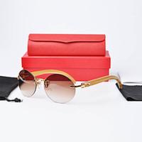 Wholesale Glasses Sun Wood - real wood vintage sunglasses brands for men women luxury brand designer rimless round oval sunglasses Sandalwood legs gold sun glasses